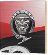 Black Jaguar - Hood Ornaments And 3 D Badge On Red Wood Print by Serge Averbukh