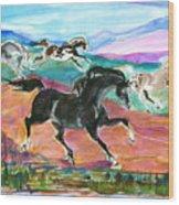 Black Pony Wood Print