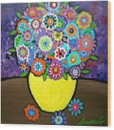 Blooms 6 Wood Print by Pristine Cartera Turkus
