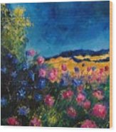 Blue And Pink Flowers Wood Print