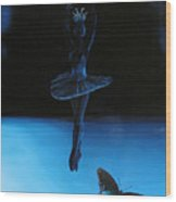 Blue Ballerina Wood Print