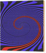 Blue Black And Red Twirl Abstract Wood Print