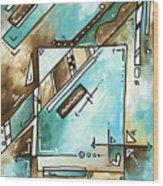 Blue Bonnet Original Abstract Pop Art Style Acrylic Painting By Madart Wood Print