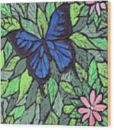 Blue Butterfly Two Wood Print