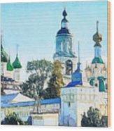Blue Church Wood Print
