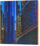 Blue Cityscape Wood Print