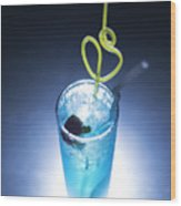 Blue Curacao Cocktail Drink With Cherry Wood Print