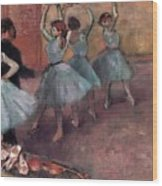 Blue Dancers Wood Print by Edgar Degas