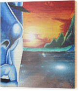 Blue Face Wood Print