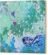 1 Blue Fish Wood Print