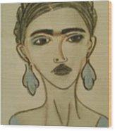 Blue Frida Wood Print