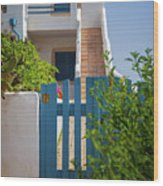Blue Gate In Greece Wood Print
