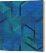 Blue Geometric Composition 1 Wood Print