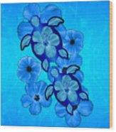 Blue Hibiscus And Honu Turtles Wood Print