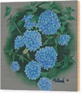 Blue Hibiscus Wood Print