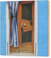 Blue In Burano Wood Print