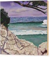 Blue Lagoon Rocks Wood Print