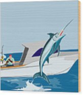 Blue Marlin Jumping Wood Print