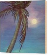 Blue Night Palm Wood Print