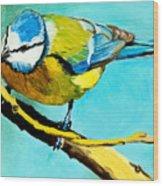 Blue On His Stick Wood Print
