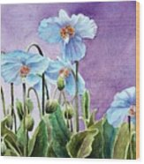 Blue Poppies Wood Print by Bobbi Price