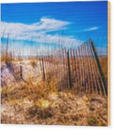 Blue Sky Over The Dunes Wood Print