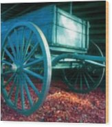 Blue Wagon Wood Print