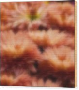 Blurred Seasonal Flowers With Yellow Background Wood Print