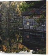 Boat-house Wood Print