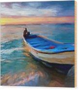 Boat On Beach Wood Print