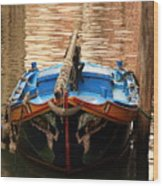 Boat On Canal In Venice Wood Print