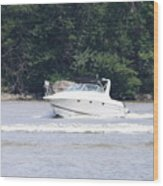 Boat On The Hudson Wood Print