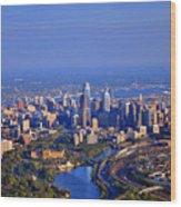 1 Boathouse Row Philadelphia Pa Skyline Aerial Photograph Wood Print