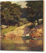 Boating In Central Park Edward Henry Potthast Wood Print