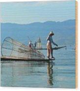 Boatmen On Inle Lake  Wood Print