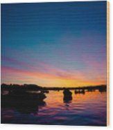 Boats And Sunrise Above Lake Water Summer Time Latvia Ezera Skanas Wood Print