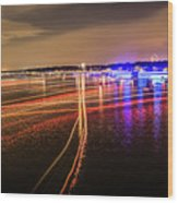 Boats Light Trails On Lake Wylie After 4th Of July Fireworks Wood Print
