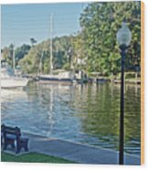 Boats On The Kalamazoo River In Saugatuck, Michigan Wood Print