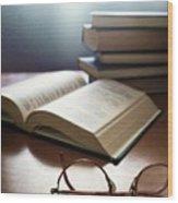 Books And Glasses Wood Print