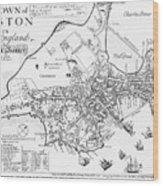 Boston Map, 1722 Wood Print