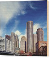 Boston Skyline 1980s Wood Print
