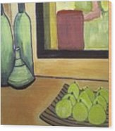 Bottles And Pears No 2 Wood Print