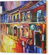 Bourbon Street Red Wood Print