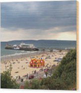 Bournemouth Pier And Beach Wood Print