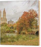 Bow Bridge In Autumn Wood Print