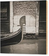 Bow Of A Gondola, Venice, Italy, Europe Wood Print