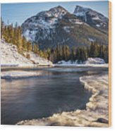 Bow River With Mountain View Banf National Park Wood Print