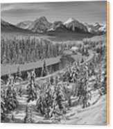 Bow Valley River View Black And White Wood Print