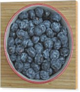 Bowl Of Fresh Blueberries Wood Print