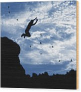 Boy Jumping With Birds Wood Print